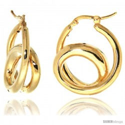 Sterling Silver Italian Puffy Hoop Earrings Double Loop Design w/ yellow Gold Finish, 1 1/16 in. 26mm tall