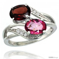 14k White Gold ( 8x6 mm ) Double Stone Engagement Pink Topaz & Garnet Ring w/ 0.07 Carat Brilliant Cut Diamonds & 2.34 Carats