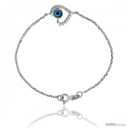 Sterling Silver 6.75 in. Cable Link Chain Bracelet Jeweled Heart Evil Eye Charm