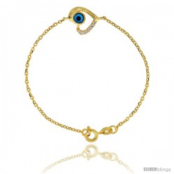 Sterling Silver (Gold Plated) 6.75 in. Cable Link Chain Bracelet Jeweled Heart Evil Eye Charm