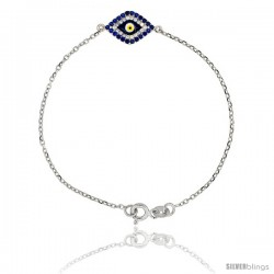 Sterling Silver 6.75 in. Cable Link Chain Bracelet Jeweled Evil Eye Charm