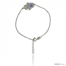 Sterling Silver 6.75 in. Cable Link Chain Bracelet Jeweled Hamsa Charm