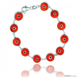 Sterling Silver Orange Color Evil Eye Bracelet, 7 in long