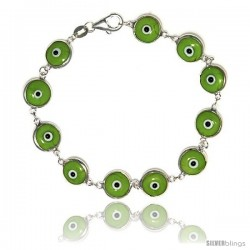 Sterling Silver Apple Green Color Evil Eye Bracelet, 7 in long