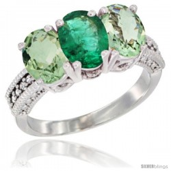14K White Gold Natural Emerald & Green Amethyst Sides Ring 3-Stone 7x5 mm Oval Diamond Accent