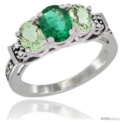 14K White Gold Natural Emerald & Green Amethyst Ring 3-Stone Oval with Diamond Accent
