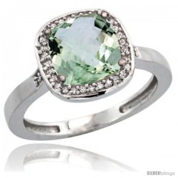 14k White Gold Diamond Green-Amethyst Ring 2.08 ct Checkerboard Cushion 8mm Stone 1/2.08 in wide