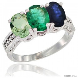 14K White Gold Natural Green Amethyst, Emerald & Blue Sapphire Ring 3-Stone 7x5 mm Oval Diamond Accent