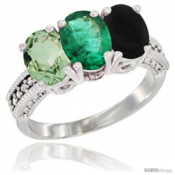 14K White Gold Natural Green Amethyst, Emerald & Black Onyx Ring 3-Stone 7x5 mm Oval Diamond Accent