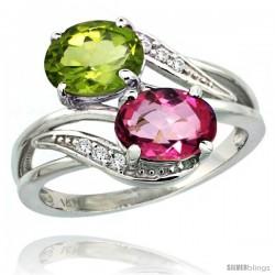 14k White Gold ( 8x6 mm ) Double Stone Engagement Pink Topaz & Peridot Ring w/ 0.07 Carat Brilliant Cut Diamonds & 2.34 Carats