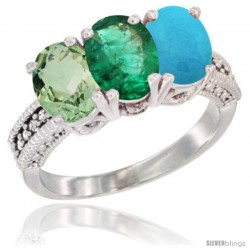 14K White Gold Natural Green Amethyst, Emerald & Turquoise Ring 3-Stone 7x5 mm Oval Diamond Accent