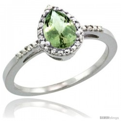 14k White Gold Diamond Green-Amethyst Ring 0.59 ct Tear Drop 7x5 Stone 3/8 in wide