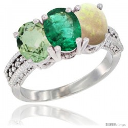 14K White Gold Natural Green Amethyst, Emerald & Opal Ring 3-Stone 7x5 mm Oval Diamond Accent