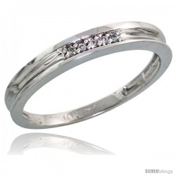 10k White Gold Ladies Diamond Wedding Band Ring 0.02 cttw Brilliant Cut, 1/8 in wide