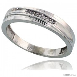 10k White Gold Mens Diamond Wedding Band Ring 0.04 cttw Brilliant Cut, 3/16 in wide -Style 10w004mb