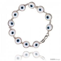 Sterling Silver White Color Evil Eye Bracelet, 7 in long