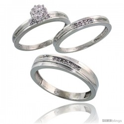 10k White Gold Diamond Trio Engagement Wedding Ring 3-piece Set for Him & Her 5 mm & 3 mm wide 0.11 cttw Brilliant Cut