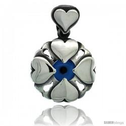 Sterling Silver Multi Heart Blue Color Evil Eye Pendant, 3/4 in wide