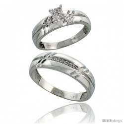 10k White Gold Diamond Engagement Rings 2-Piece Set for Men and Women 0.10 cttw Brilliant Cut, 5.5mm & 6mm wide