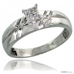 10k White Gold Diamond Engagement Ring 0.06 cttw Brilliant Cut, 7/32 in wide