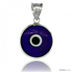 Sterling Silver Navy Blue Color Evil Eye Pendant, 5/8 in wide