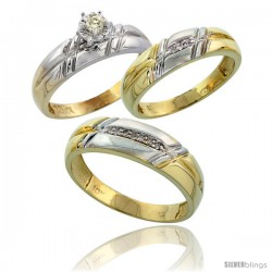 10k Yellow Gold Diamond Trio Wedding Ring Set His 6mm & Hers 5.5mm