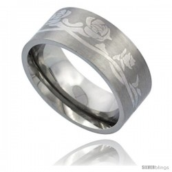 Surgical Steel 9mm Roses Ring Wedding Band Comfort-Fit