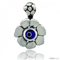 Sterling Silver Flower Shape Navy Blue Color Evil Eye Pendant, 3/4 in wide