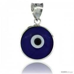 Sterling Silver Royal Blue Color Evil Eye Pendant, 5/8 in wide