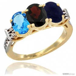 10K Yellow Gold Natural Swiss Blue Topaz, Garnet & Lapis Ring 3-Stone Oval 7x5 mm Diamond Accent
