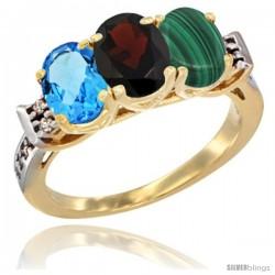 10K Yellow Gold Natural Swiss Blue Topaz, Garnet & Malachite Ring 3-Stone Oval 7x5 mm Diamond Accent