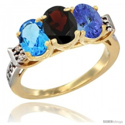 10K Yellow Gold Natural Swiss Blue Topaz, Garnet & Tanzanite Ring 3-Stone Oval 7x5 mm Diamond Accent