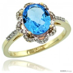 10k Yellow Gold Diamond Halo Blue Topaz Ring 1.65 Carat Oval Shape 9X7 mm, 7/16 in (11mm) wide