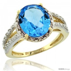 10k Yellow Gold Diamond Halo Blue Topaz Ring 2.85 Carat Oval Shape 11X9 mm, 7/16 in (11mm) wide