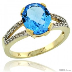 10k Yellow Gold and Diamond Halo Blue Topaz Ring 2.4 carat Oval shape 10X8 mm, 3/8 in (10mm) wide