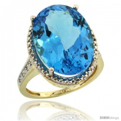 10k Yellow Gold Diamond Swiss Blue Topaz Ring 13.56 Carat Oval Shape 18x13 mm, 3/4 in (20mm) wide