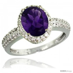 Sterling Silver Diamond Natural Amethyst Ring Oval Stone 9x7 mm 1.76 ct 1/2 in wide