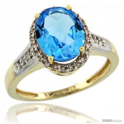 10k Yellow Gold Diamond Swiss Blue Topaz Ring 2.4 ct Oval Stone 10x8 mm, 1/2 in wide