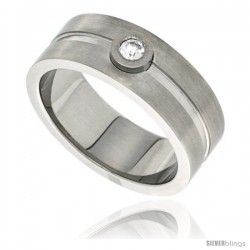 Surgical Steel 8mm Wedding Band Ring CZ Stone Grooved Center Matte Finish