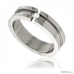 Surgical Steel Tension Set CZ Ring Grooved Center 6mm Wedding Band