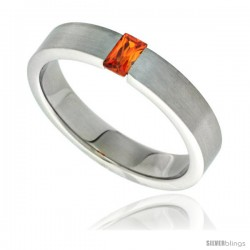 Surgical Steel Tension Set 5mm Wedding Band Ring Orange Cubic Zirconia Matte Finish