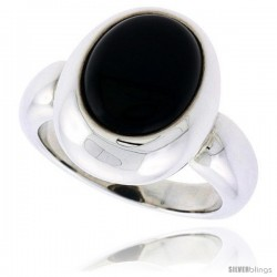 "Sterling Silver Ladies' Ring w/ an Oval-shaped Jet Stone, 11/16"" (17 mm) wide"