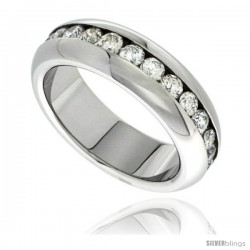 Surgical Steel 7mm Domed Eternity wedding Band Ring 3mm CZ Stones Highly Polished