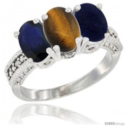 10K White Gold Natural Blue Sapphire, Tiger Eye & Lapis Ring 3-Stone Oval 7x5 mm Diamond Accent