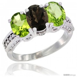 14K White Gold Natural Smoky Topaz & Peridot Sides Ring 3-Stone 7x5 mm Oval Diamond Accent