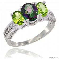 14k White Gold Ladies Oval Natural Mystic Topaz 3-Stone Ring with Peridot Sides Diamond Accent