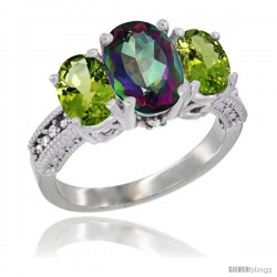 14K White Gold Ladies 3-Stone Oval Natural Mystic Topaz Ring with Peridot Sides Diamond Accent