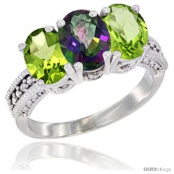 14K White Gold Natural Mystic Topaz & Peridot Sides Ring 3-Stone 7x5 mm Oval Diamond Accent