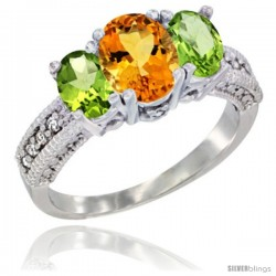 14k White Gold Ladies Oval Natural Citrine 3-Stone Ring with Peridot Sides Diamond Accent