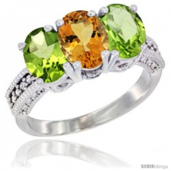 14K White Gold Natural Citrine & Peridot Sides Ring 3-Stone 7x5 mm Oval Diamond Accent